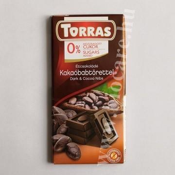 Torras étcsokoládé kakaóbab törettel